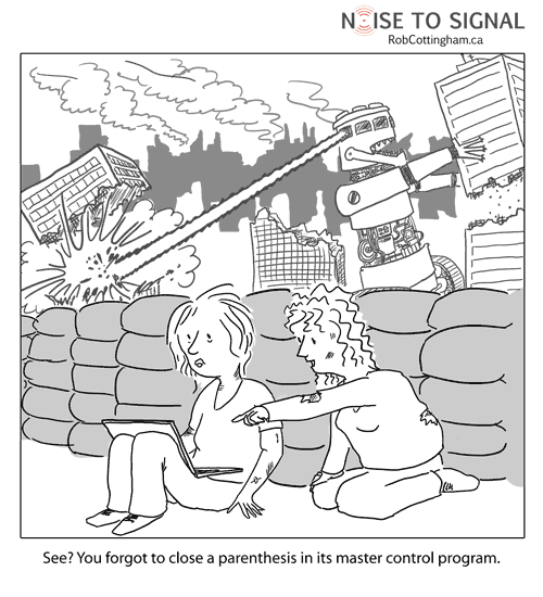cartoon about robots destroying the world -- caused by sloppy coding