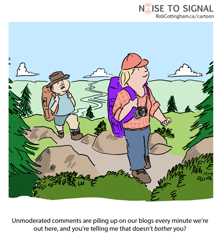 hikers worrying about un-moderated blog comments