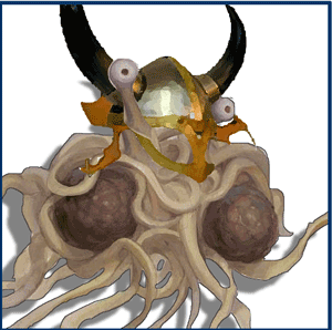 the great pasta (spaghetti monster) in viking helmet