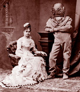 Victorian couple -- gent in diving suit