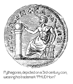 Pythagoras wearing his PHUD horn