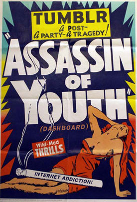 Assassins of Youth -- old poster mashed up with Tumblr reference