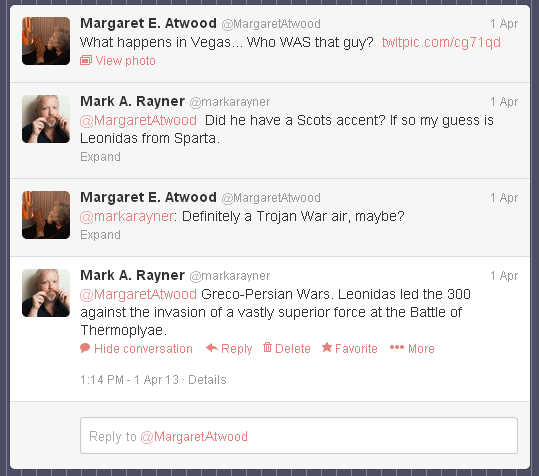 Twitter exchange with Margaret Atwood