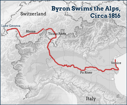 Byron Swims the Alps, Circa 1816