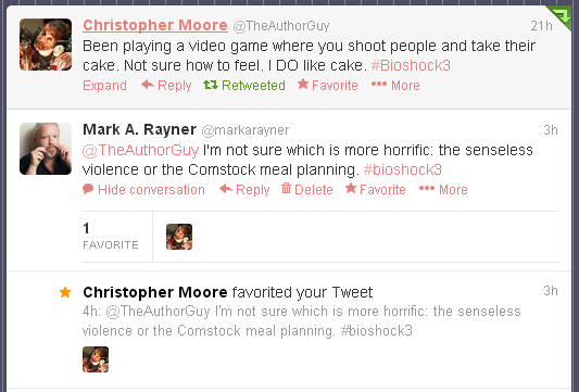 Twitter exchange with Christopher Moore
