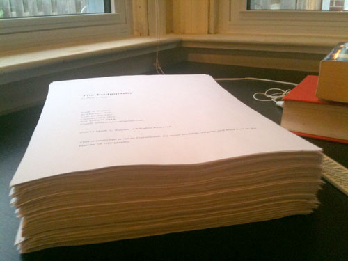 manuscript on desk