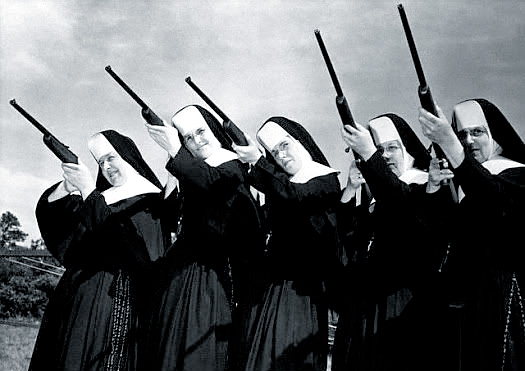 nuns aiming rifles