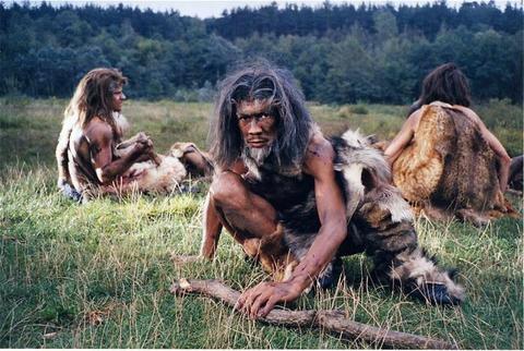 three cavemen thinking deep thoughts