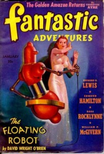 fantastic adventures - pulp cover magazine of robot with horrified woman