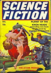 Science Fiction - pulp magazine cover of robot abducting scantily clad woman