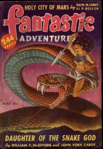 Fantastic Adventures cover - half-naked woman on giant snake