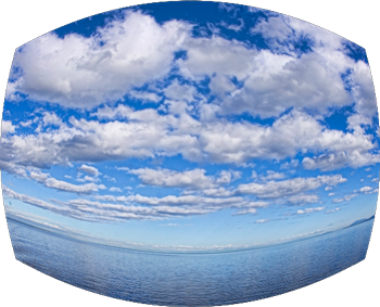 pacific ocean and sky with curved distortion