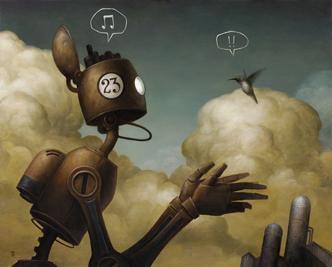 Robot talking with bird