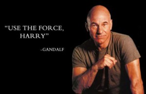 """""""use the force, harry"""" gandalf (with pic of patrick stewart)"""