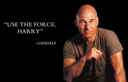 """use the force, harry"" gandalf (with pic of patrick stewart)"