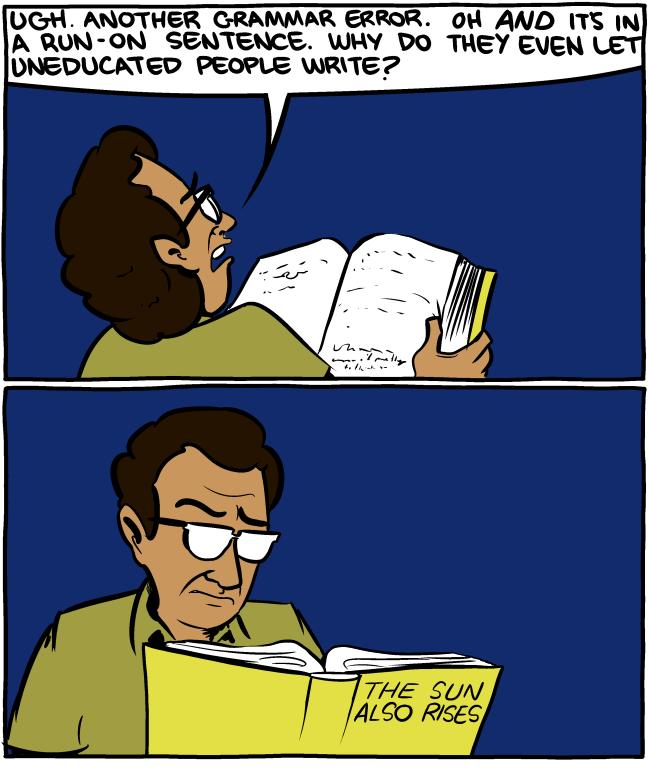 cartoon about grammar errors in hemingway