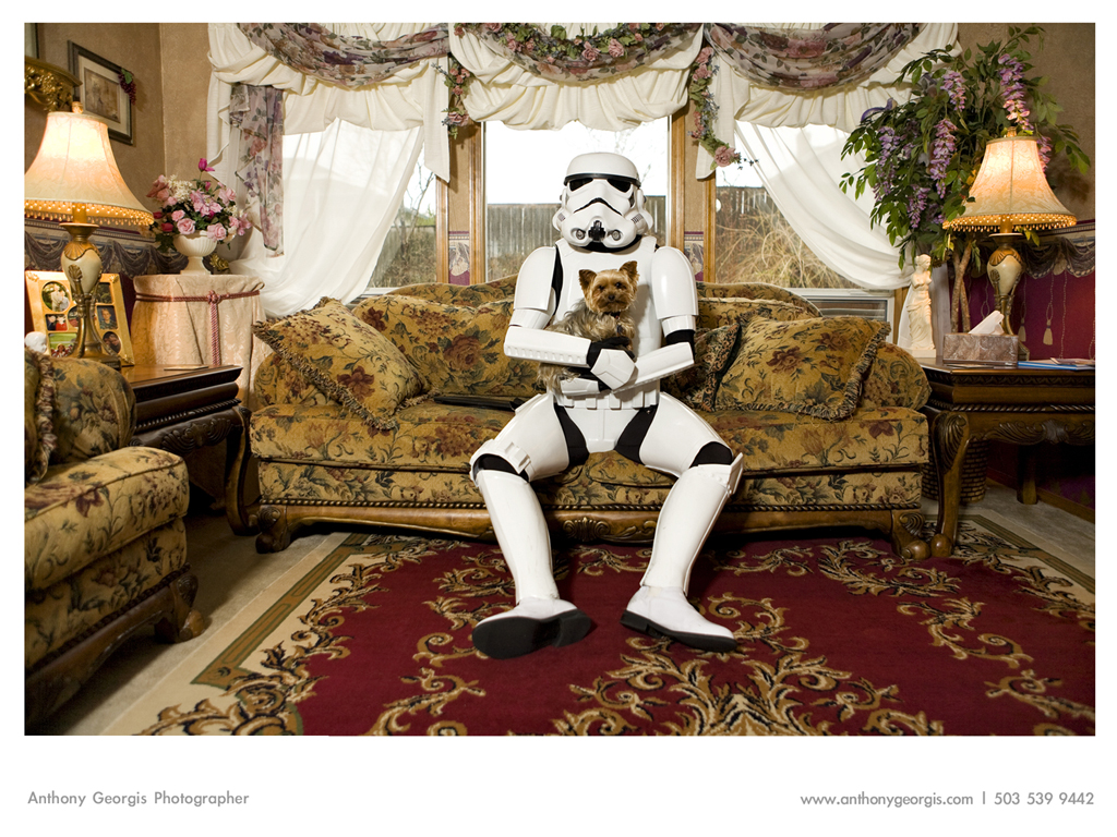 stormtrooper with pet dog