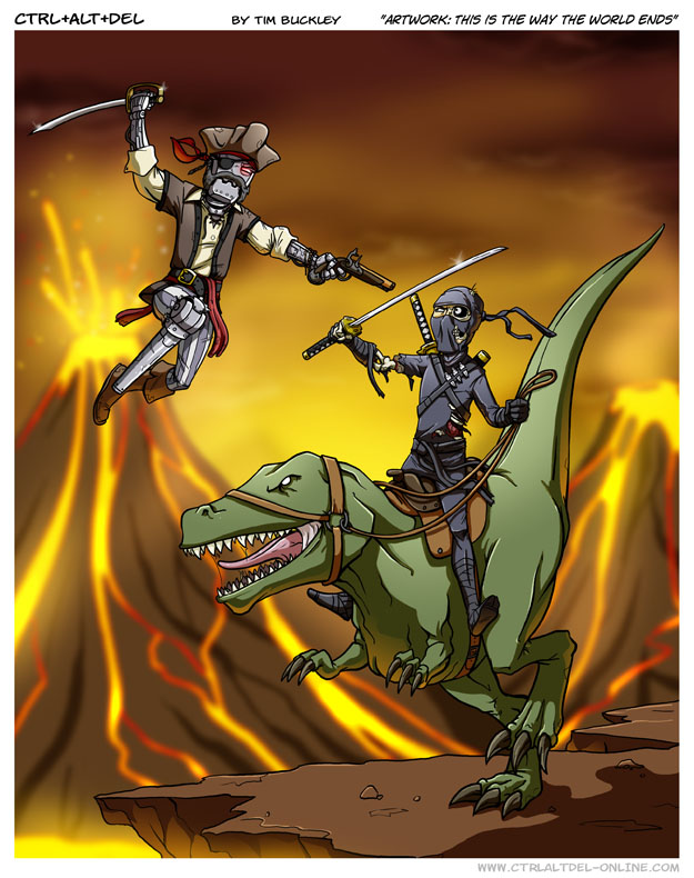 how the world ends - robot pirate fighting dinosaur-riding ninja