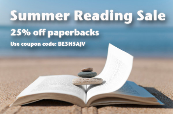 summer reading sale -- books sitting on a beach