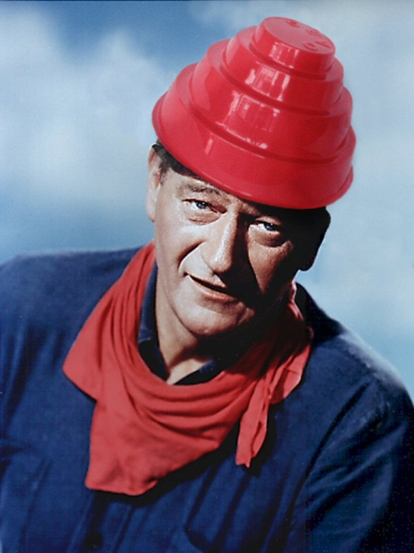 John Wayne wearing Devo hat