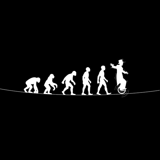 evolution ape to unicyclist