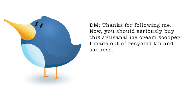 twitter bird with odd DM