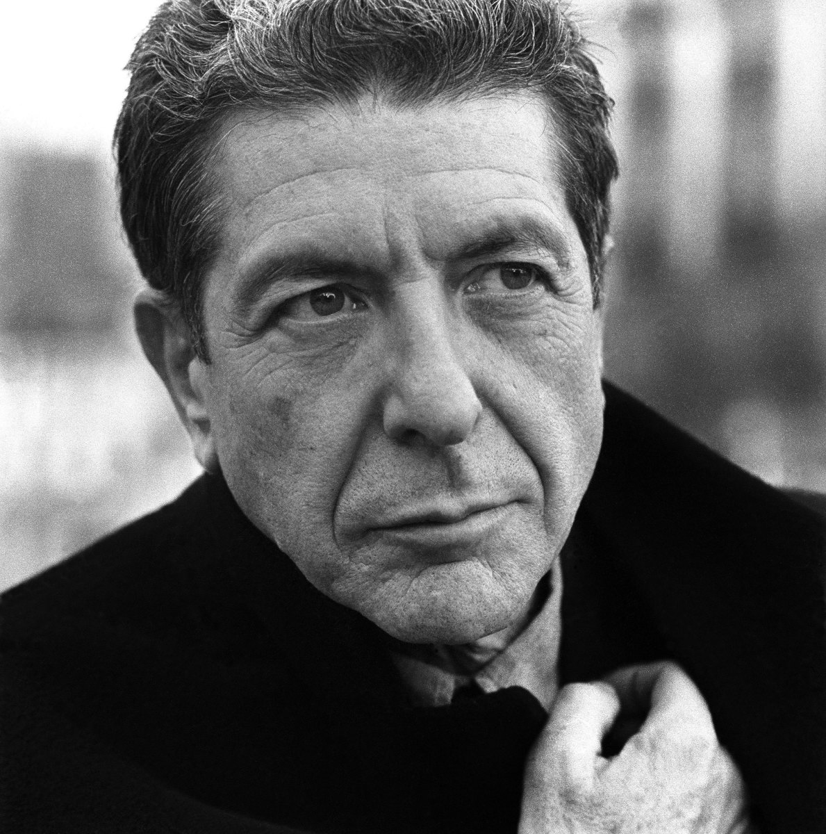 leonard cohen (black and white photo)