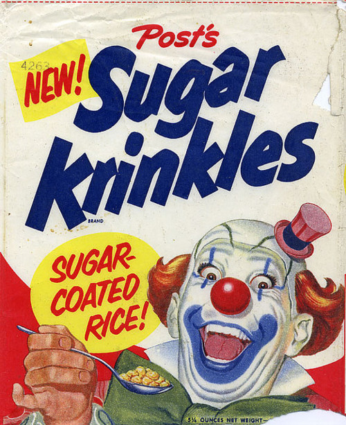 vintage cereal box - sugar krinkels (with terrifying clown)