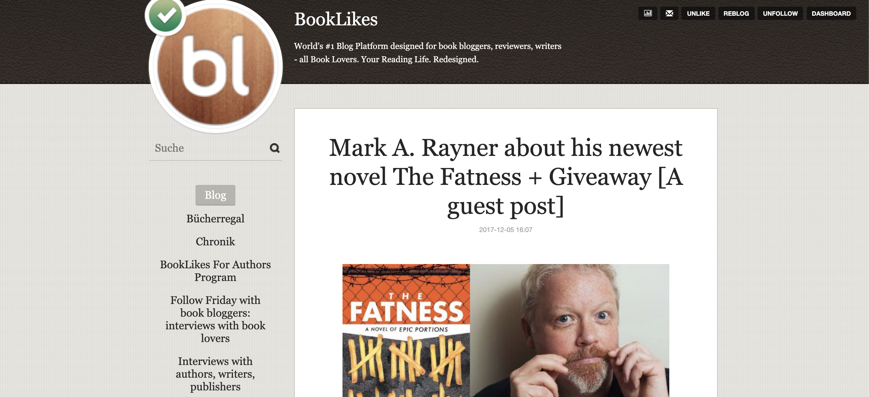 screen shot of booklikes website with mark rayner's guest post