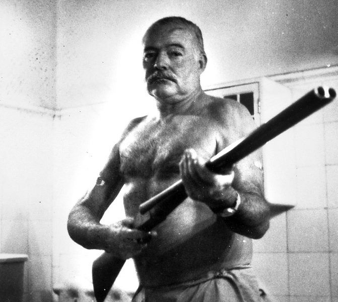 Hemingway with his shotgun