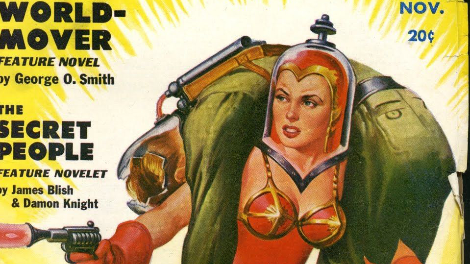 close up of science fiction pulp cover - space woman with laser pistol with man on her shoulders