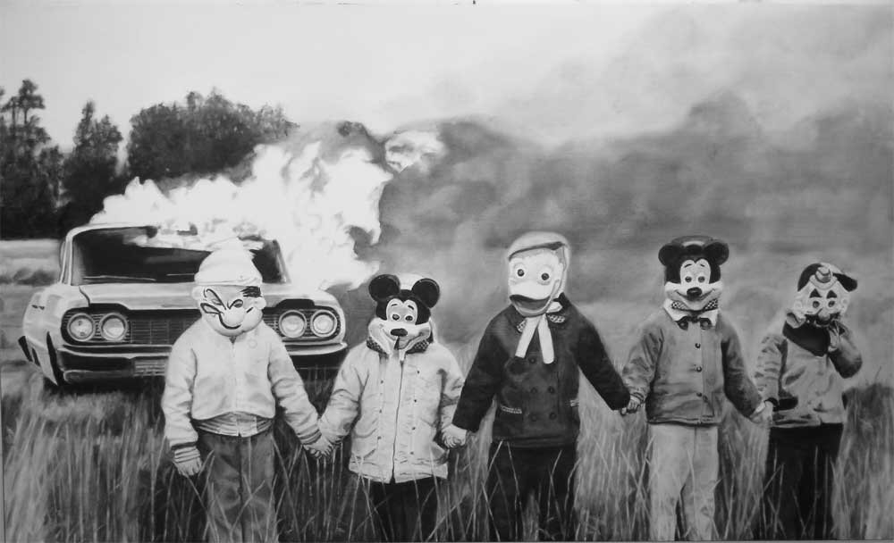 kids in disney masks hold hands in front of car on fire