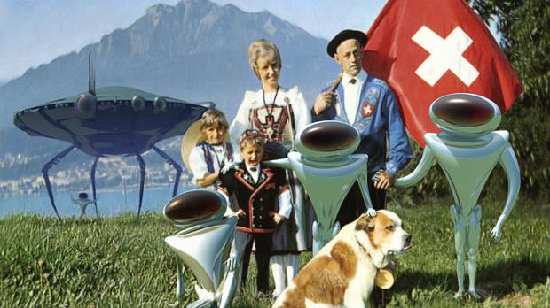 aliens landing in switzerland - swiss family with St. Bernard and alien
