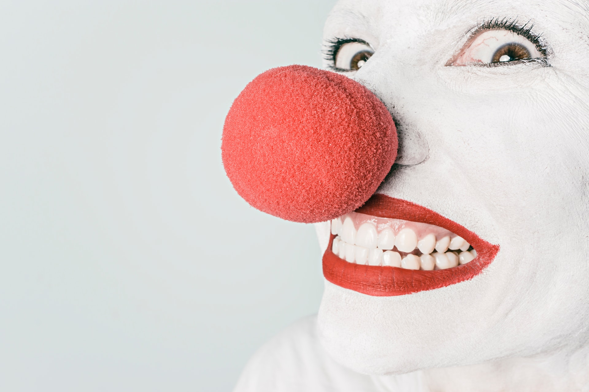 clown with an insane smile
