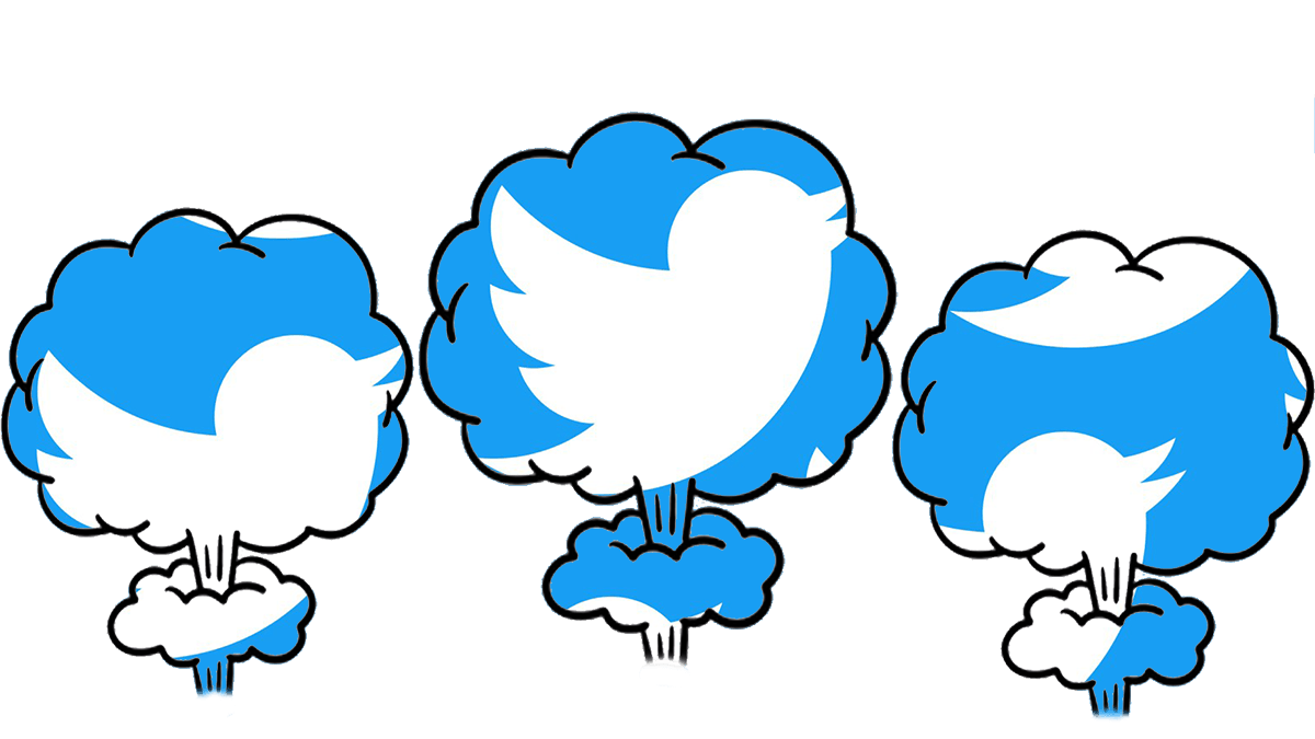 twitterpocalypse -- twitter bird logo in mushroom clouds