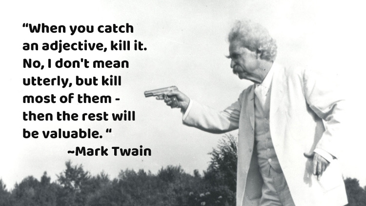 Mark Twain in his signature white suit, pointing a pistol